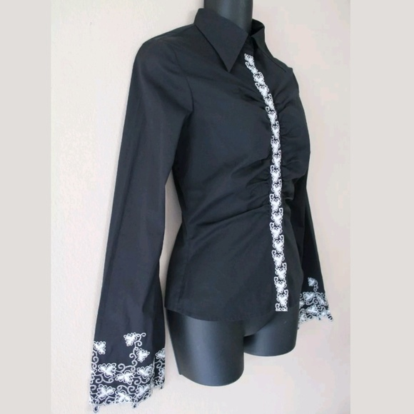 Catherine Malandrino Black Embroidered Shirt